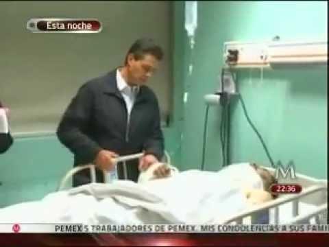Visita Peña en hospital a heridos de edificion en Pemex / México