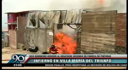CINCO BOMBEROS HERIDOS (TRES HOSPITALIZADOS) EN INCENDIO DE PINTURERIA VTM EN VILLA MARIA DEL TRIUNFO - PERU