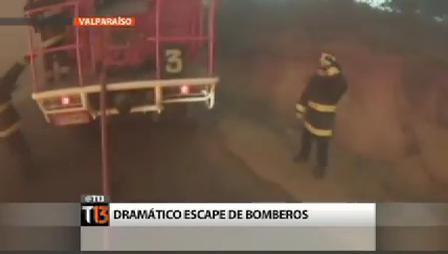 BOMBEROS DE VALPARAISO ESCAPAN DE LAS LLAMAS DURANTE INCENDIO FORESTAL - CHILE / Video Destacado de La Hermandad de Bomberos