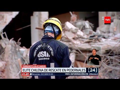 BOMBEROS #USAR SANTIAGO TRABAJANDO EN PEDERNALES, ECUADOR - CHILE