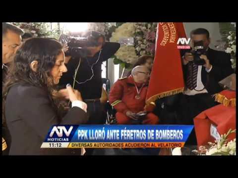 EL PRESIDENTE DE PERÚ LLORA FRENTE A FÉRETROS DE BOMBEROS VOLUNTARIOS FALLECIDOS