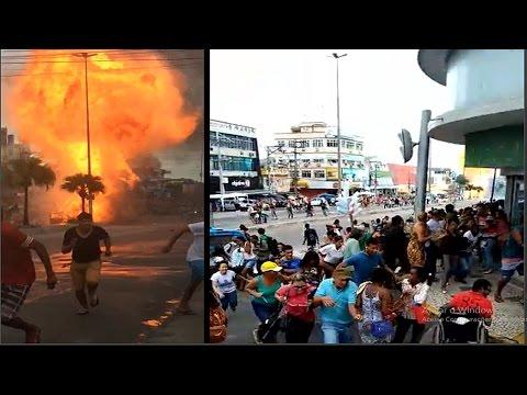CAPTADO EN VÍDEO: EXPLOTA CAMIÓN CARGADO CON BALONES DE GAS - BRASIL