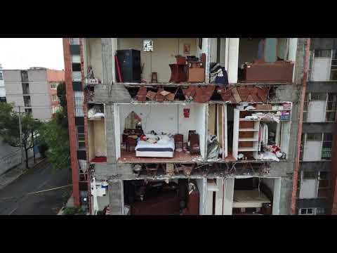 INCREÍBLE TOMA DESDE UN DRONE DE UN EDIFICIO DAÑADO TRAS EL SISMO EN MÉXICO