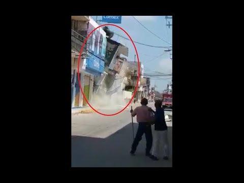 Momento exacto del desplome de inmueble afectado por sismo en Juchitán Oaxaca Video