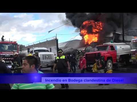 INCENDIO DE BODEGA CLANDESTINA DE DIESEL EN MELCHOR OCAMPO