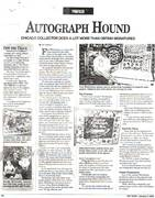 """TOY SHOP PAPER, January, 9th, 2004, Issue #323, Vol.-17, No.-1, Page #70, Collector Profile, Tom Bartsch wrote: """"AUTOGRAPHED HOUND"""", """"Chicago Collector Does A Lot More Than Obtain Signatures"""""""