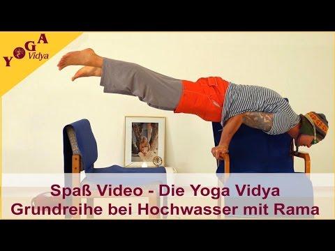 Spaß-Video: Die Yoga Vidya Grundreihe bei Hochwasser mit Rama