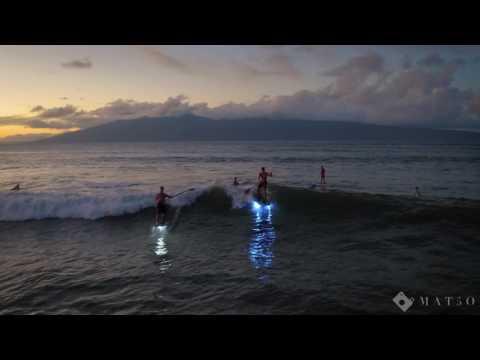 Sunset SUP Foilboarding on Maui; Lights on!