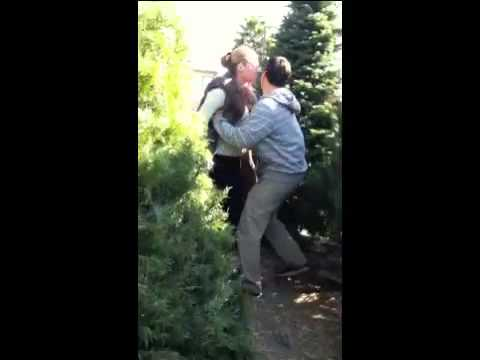 When Being A Female Dog Goes Wrong :Girlfriend Gets Thrown into Christmas Tree ( Early Christmas Spirit For That Azz Lol )