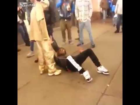 Thug Tries to Rob a Street Performer In NYC And Gets a Kick to the Face