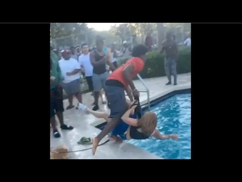 Raw Footage : Another Angle Of Elderly Woman Gets Assaulted And Thrown Into The Pool By A Group Of Teens
