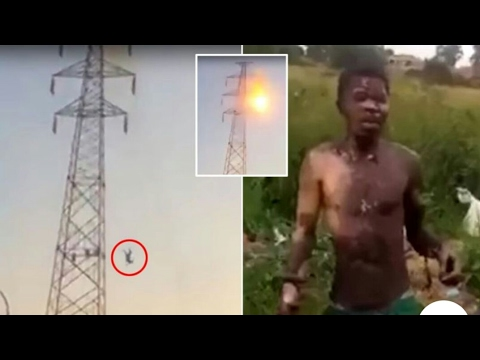 Amazing : Guy gets hit with over 30,000 volts,falls over 100ft to the ground,and still walks away!