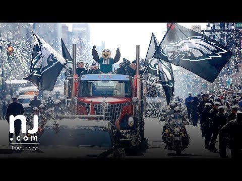 Philadelphia Eagles players celebrate Super Bowl victory with parade