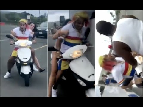 6ix9ine Crashes Moped In Hawaii With Cuban Doll On Back !