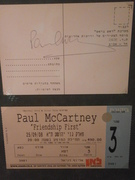 Paul's full autograph on the postcard and an unused ticket for Paul's concert in Tel Aviv, Israel