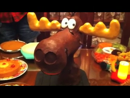 Bullwinkle Cake talking with moving antlers