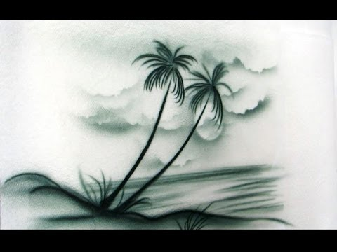 Cake Decorating Airbrush--Part 3--Freehand Palm Trees, Ocean, and Clouds