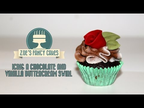 Icing a chocolate and vanilla buttercream swirl How To Tutorial Zoes Fancy Cakes