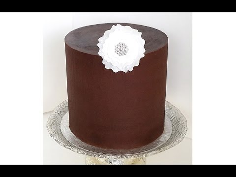Frosting a Cake with Ganache - With Straight Sides & Sharp Edges - Frosting a Double Barrel Cake