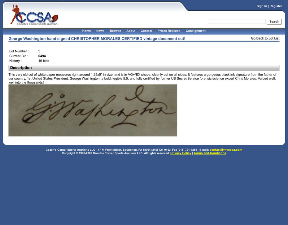 George Washington Sold at Coach's Corner with Christopher Morales Authentication