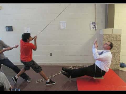 Single and compound pulleys review - lifting our principal // Homemade Science with Bruce Yeany