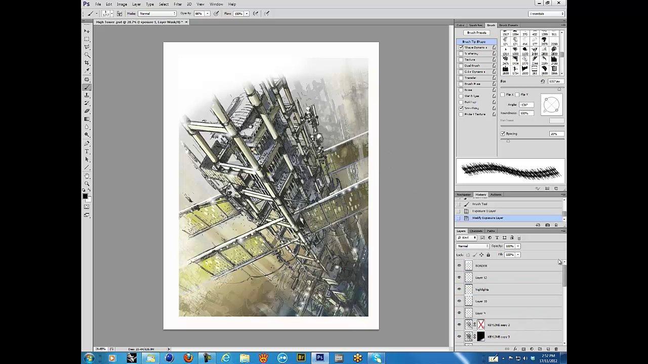 Photoshop CS6 - Digital Concept Sketch - Architectural Environment (Enhanced)