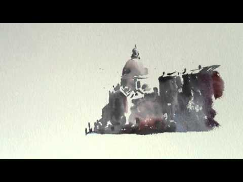 How to paint a Watercolour/watercolor Venetian sketch by Trevor Waugh