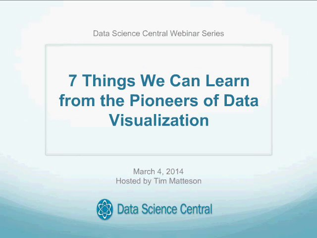 DSC Webinar Series: 7 Things We Can Learn from the Pioneers of Data Visualization