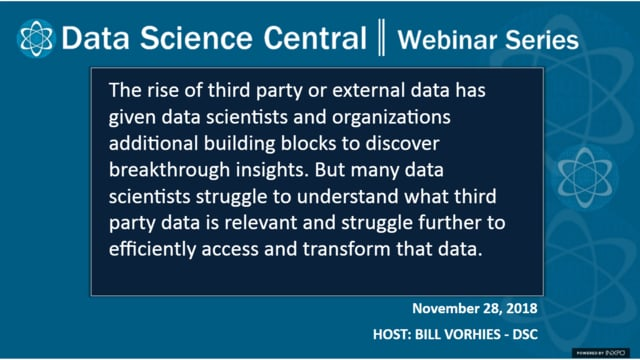 DSC Webinar Series: Transforming 3rd Party Data Into Actionable Insights