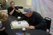 Joe Pepitone blowing out his Birthday Cake Candles