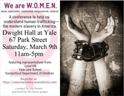*New Haven Academy Senior Hosting Human Trafficking Conference Sat 3/9 11-5 PM @ Dwight Hall Yale*