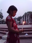 An unprivileged girl came to the World Food Day 2011 of the ActionAid Bangladesh