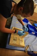 Volunteer Becci Manson rescuing photos damaged by the Tsunami in Japan