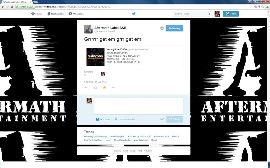 Shout Out To Dr. Dre & Aftermath Entertainment  For The Support