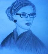 damen med glasögonen