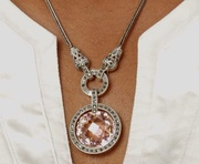 MMarcasite with Pink stone on a 18 in chain
