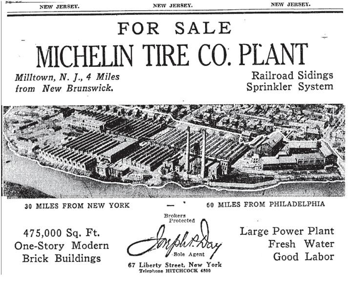 1930 NYT Michelin Plant for Sale