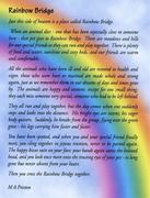 RAINBOW BRIDGE POEM..THANK YOU LOUIS AND EVA:)