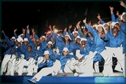 Triumphant CASYM Steel Orchestra members on stage, after winning the 2006 New York Panorama