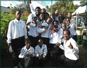 Montserrat Junior Steelpan competitors at the Organization of Eastern Caribbean States Junior Steel Pan Competition - April 2006, Dominica, W.I.