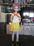 Jo in her schoolgirl outfit