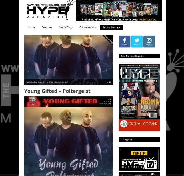 HYPE MAGAZINE IS FEATURING YOUNG GIFTED & THEIR HIT SINGLE POLTERGEIST