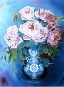 Le vase bleu calligraphié aux paéonias