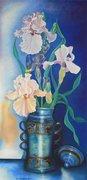 Les iris au vase bleu mexicain