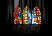hier,aujourd'hui, demain, série 'Reflexions silencieuses' Eglise St Nicolas de Blois, triptyque en ogive, 3x60x121,5, huile sur toile
