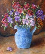 Potiche-bleue-fleurie