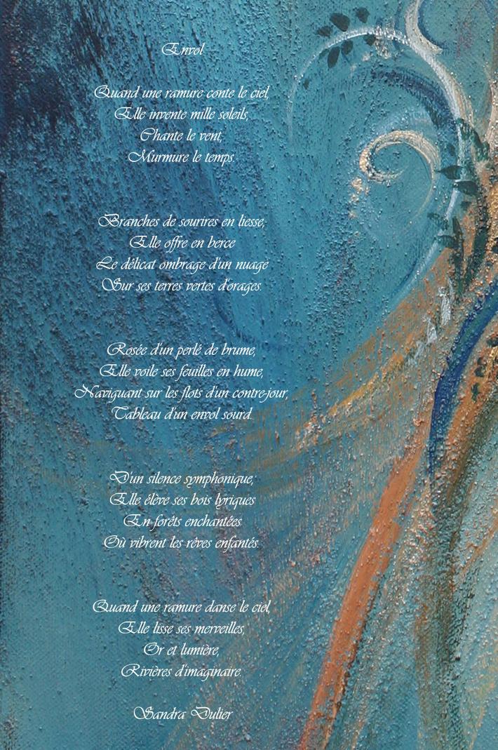 """""""Envol """", poème de Sandra Dulier sur extrait d'une peinture de Liliane Magotte."""
