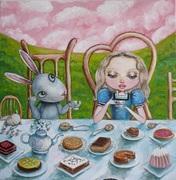 Alice à table avec le lapin