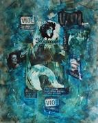 Série Violences faite aux femmes tableau STOP 100x80 technique mixte.