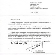 Lettre de Monsieur Alain Decaux en 2004